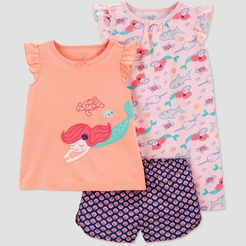 Toddler Girls' 3pc Mermaid Poly Pajama Set - Just One You® made by carter's Coral - image 1 of 1