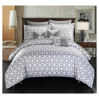 Great Ritchelle Geometric Diamond Printed Reversible Multi Piece Comforter Set    Chic Home Design