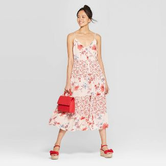 Women's Floral Print Scoop Neck Strappy Button Front Tiered Midi Dress - Xhilaration™ Pink M