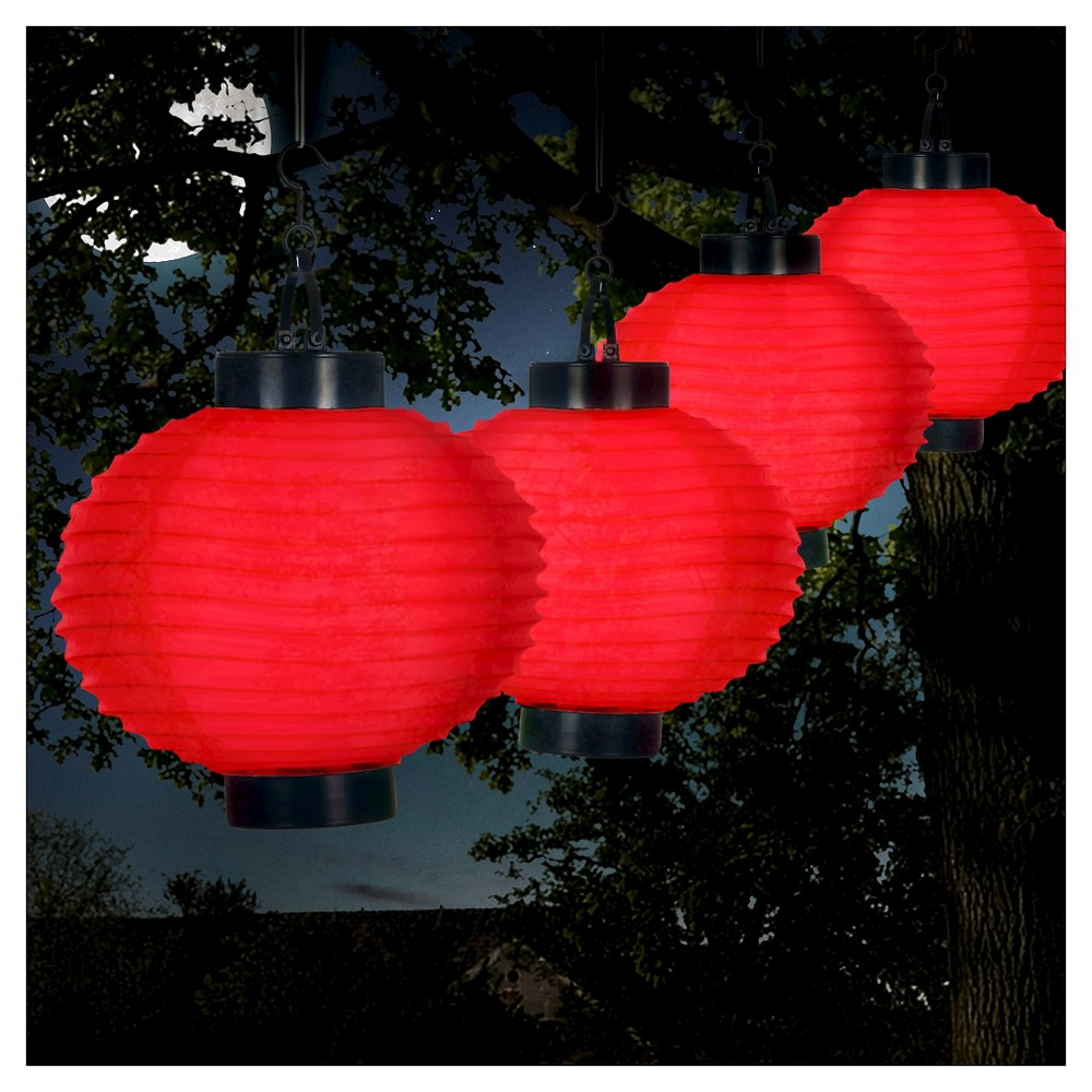 Image of Pure Garden Outdoor Solar Chinese Lanterns Set of 4 - Red