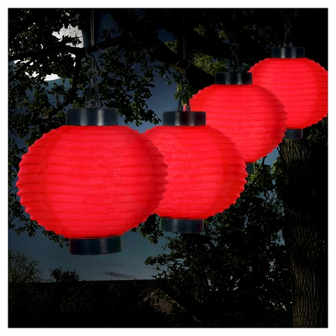 Pure Garden Outdoor Solar Chinese Lanterns Set Of 4 Red