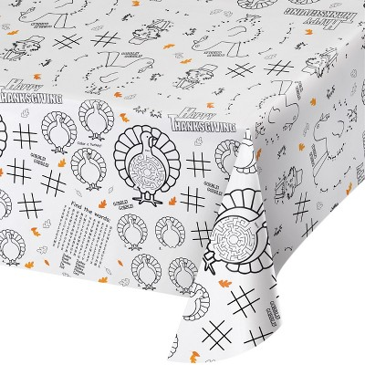 Thanksgiving Activity Tablecloth White