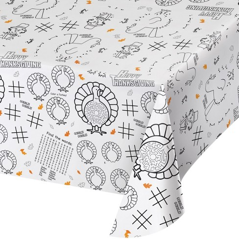 Thanksgiving Activity Tablecloth White Target