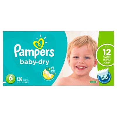 Pampers Baby Dry Diapers Economy Plus Pack Size 6 (128 ct)