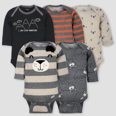 Gerber Baby Boys' 5pk Long Sleeve Bear Bodysuits - Gray/Light Brown 3-6M