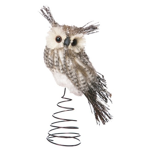 "12"" Bristle Owl Christmas Tree Topper - image 1 of 1"