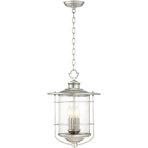 """Franklin Iron Works Industrial Outdoor Light Hanging Lantern Brushed Nickel Damp Rated 19"""" Clear Seedy Glass for Porch Patio - image 1 of 3"""