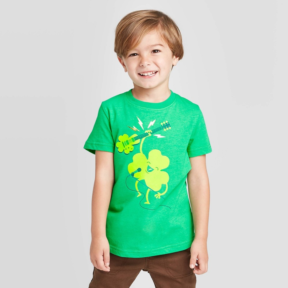 petiteToddler Boys' Short Sleeve St. Patrick's Rocking Out T-Shirt - Cat & Jack Green 2T, Toddler Boy's was $4.5 now $2.25 (50.0% off)