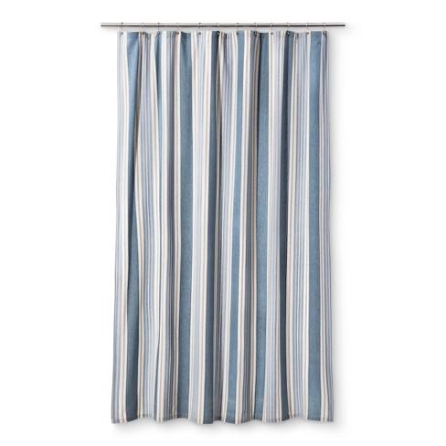 Savannah Stripe Extra Long Shower Curtain Blue