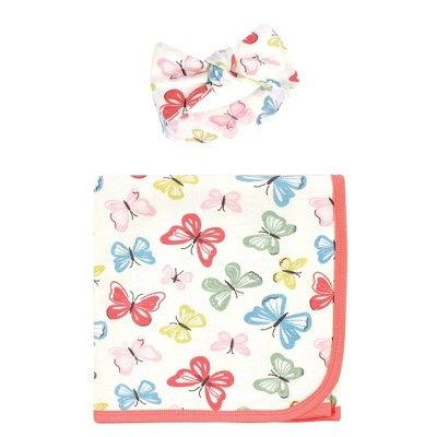 Touched by Nature Unisex Baby Organic Cotton Swaddle Blanket and Headband - Butterflies One Size