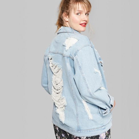 58c4067a8538d Women s Plus Size Destructed Trucker Denim Jacket - Wild Fable™ Medium Wash