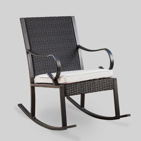 Prime Harmony Wicker Patio Rocking Chair Black White Christopher Knight Home Short Links Chair Design For Home Short Linksinfo