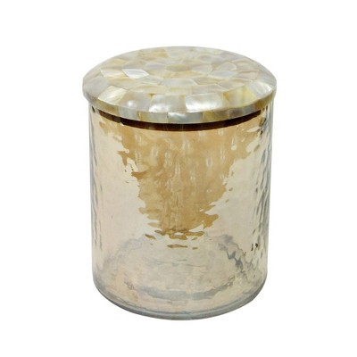Small Hammered Glass Canister with Mop Lid Amber - Nu Steel