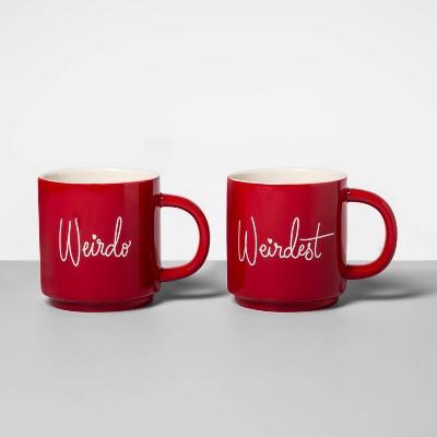 16oz 2pk Stoneware Weirdo and Weirdest Mug Set Red - Opalhouse™