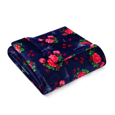 Full/Queen Printed Pattern Plush Bed Blanket Floral Navy - Betseyville