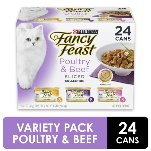 Purina Fancy Feast Sliced Poultry & Beef Feast Variety Wet Cat Food - 3oz cans / 24pk - image 1 of 4