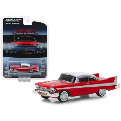 """1958 Plymouth Fury Red with White Top """"Evil Version"""" """"Christine"""" (1983) Movie 1/64 Diecast Model Car by Greenlight"""
