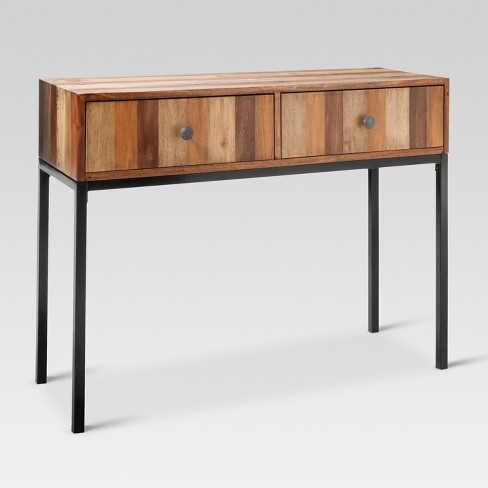 Hernwood Mixed Material Console Table Brown Threshold