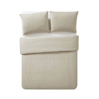 Full/Queen Waffle Pinsonic Quilt Set Taupe - VCNY Home