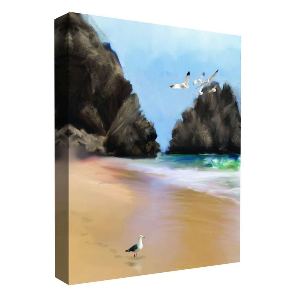11 34 X 14 34 A Walk On The Beach Ii Decorative Wall Art Ptm Images