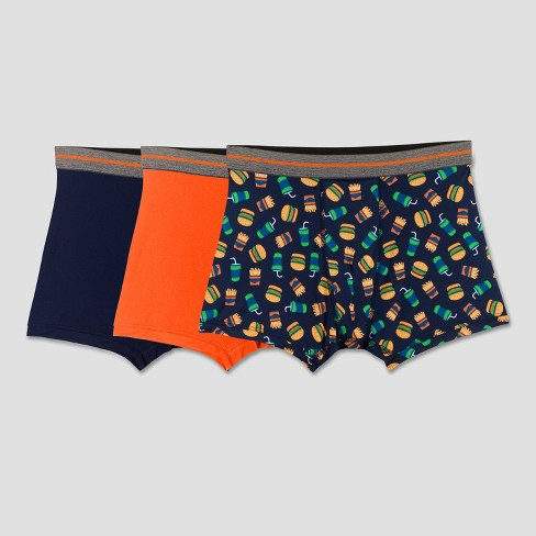 Fruit of the Loom Boys' 3pk Burger Print Poly Boxer Briefs - Navy - image 1 of 1