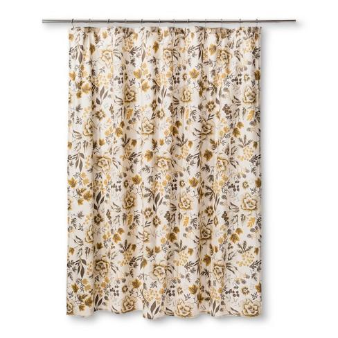 Floral Shower Curtain Sour Cream