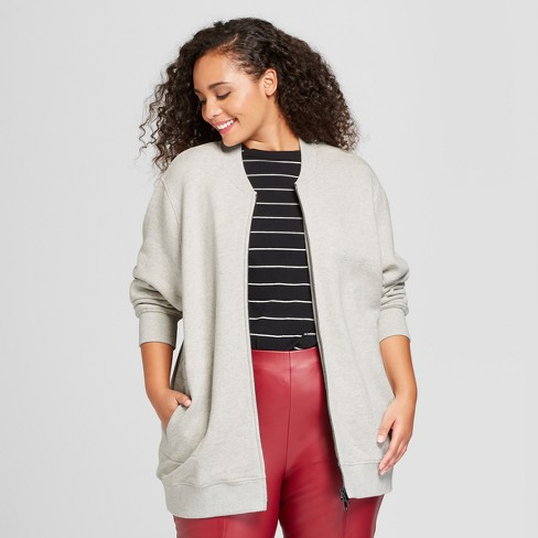 Women's Plus Size Fleece Bomber Jacket - Who What Wear™ Gray 1X - image 1 of 3