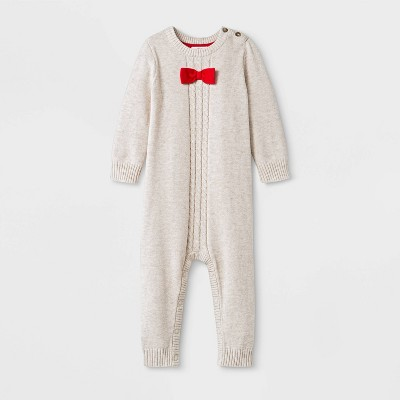 Baby Boys' Holiday Sweater Romper - Cat & Jack™ Cream 0-3M