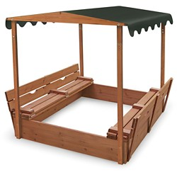 Badger Basket Covered Convertible Cedar Sandbox with Canopy and Two Bench Seats
