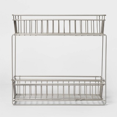 2 Tier Slide Out Storage Rack Slim Nickel - Threshold™