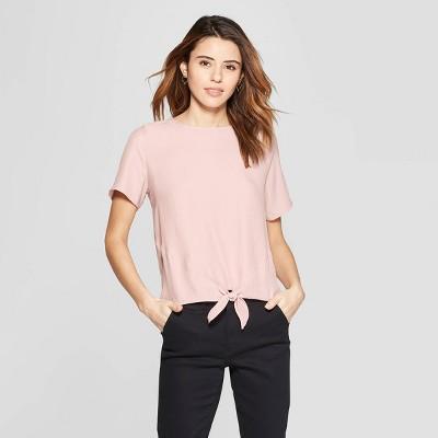 Women's Short Sleeve Crewneck Satin Tie Front Top - A New Day™ Light Pink XL