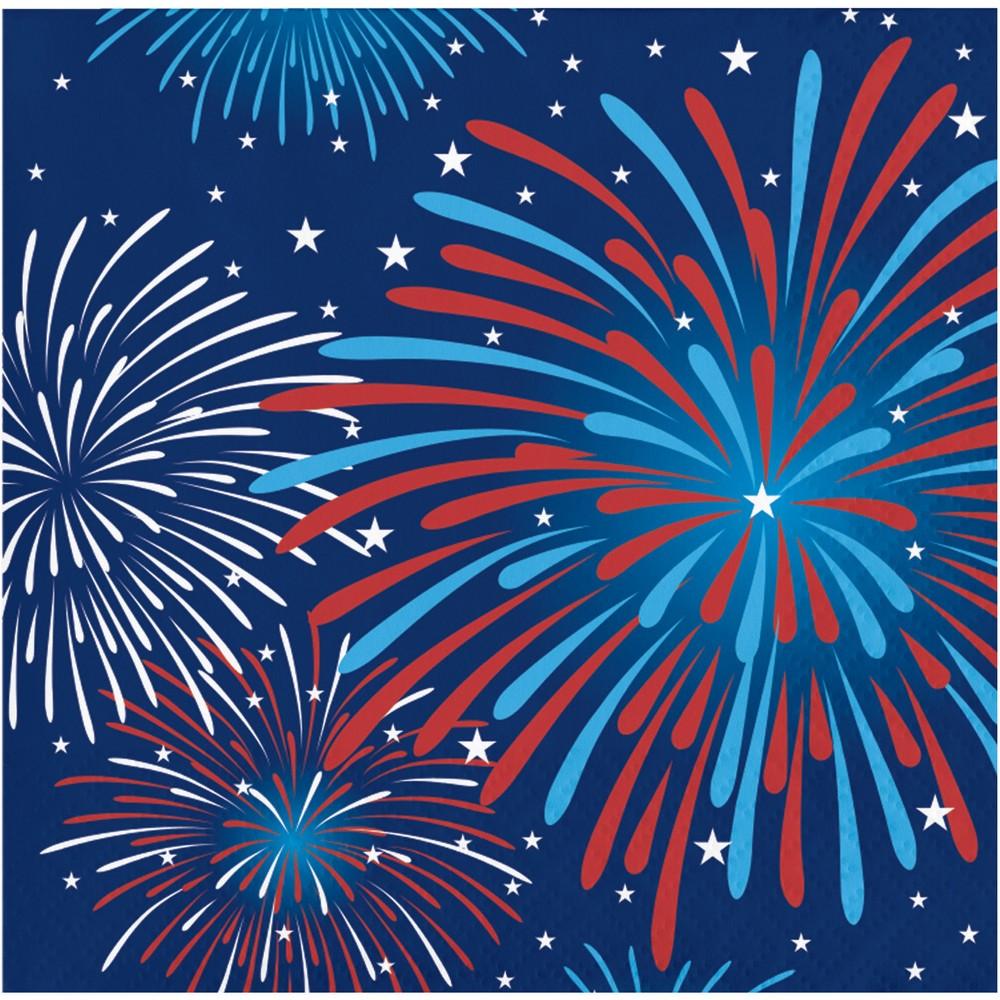 Image of 16ct Fireworks Celebration Beverage Napkins, Multi-Colored