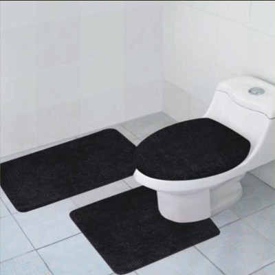 Kashi Home Hailey 3 Piece Bath Rug Set, Tub, Contour, Lid