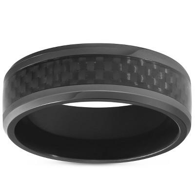 Pompeii3 Black Titanium 8mm Beveled Band with Black Carbon Fiber Inlay Comfort Fit