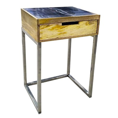 Wood & Silver One Drawer Accent Table - Threshold™