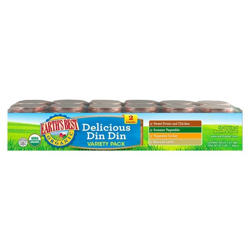 Earth's Best Organic Delicious Din Din Baby Food Variety Pack, 4oz (12ct ) - image 1 of 2