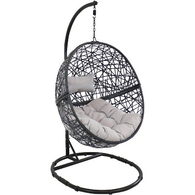Jackson Hanging Egg Chair with Seat Cushions and Stand - Gray - Sunnydaze
