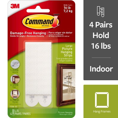 Command Large Sized Picture Hanging Strips (4 Sets of Strips)White
