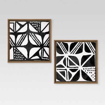Mud Cloth IV & III Framed Canvases 12 x12  2pk - Threshold™