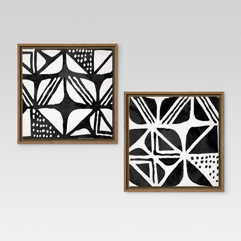 Mud Cloth IV & III Framed Canvases 12\