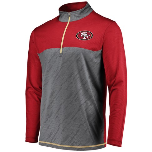 NFL San Francisco 49ers Men's Striped Geo Fuse/ Gray 1/2 Zip - image 1 of 2