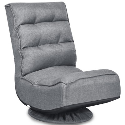 Costway Gaming Chair Fabric 5-Position Folding Lazy Sofa 360 Degree Swivel Grey\ Black\Coffee
