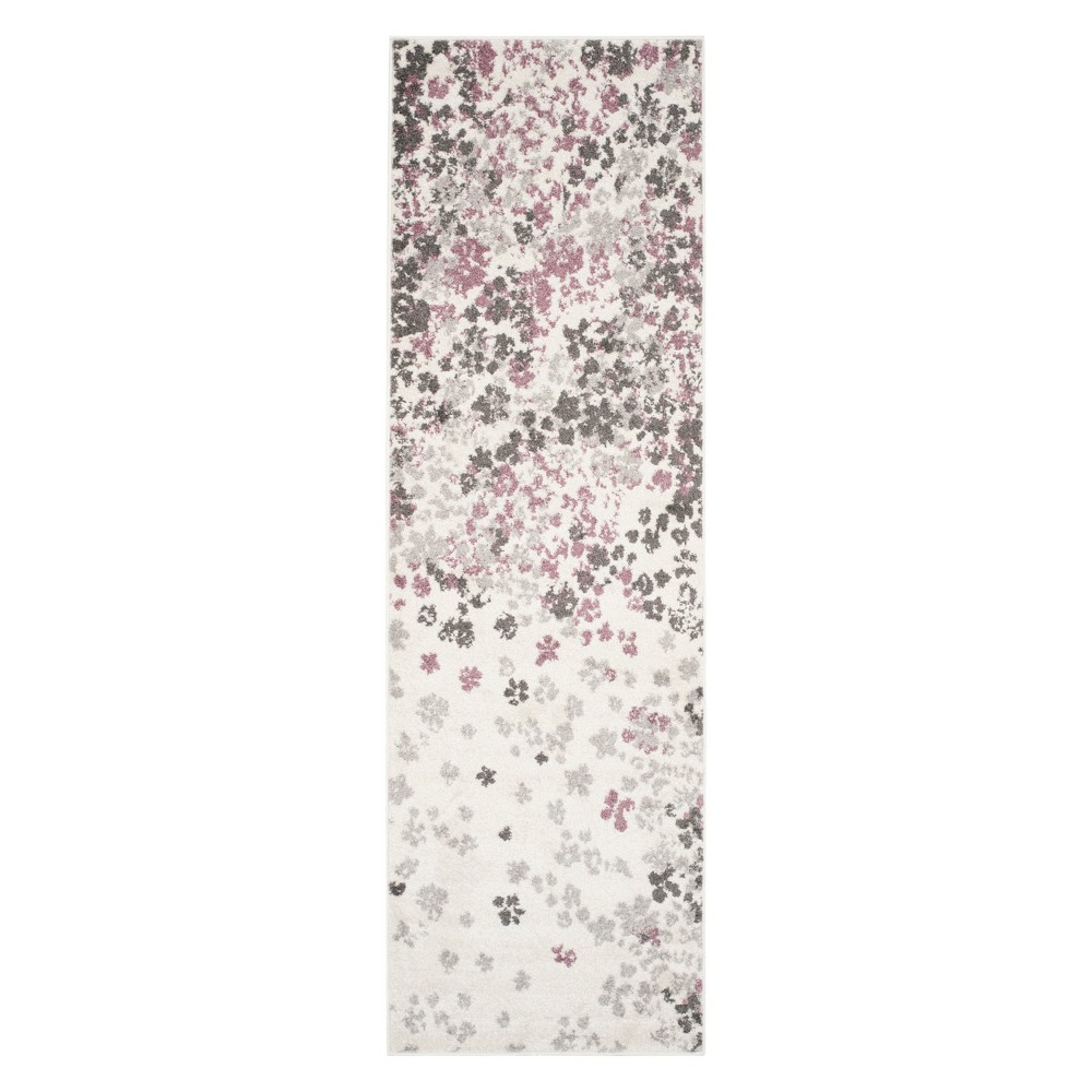 2'6X6' Floral Runner Ivory/Purple - Safavieh