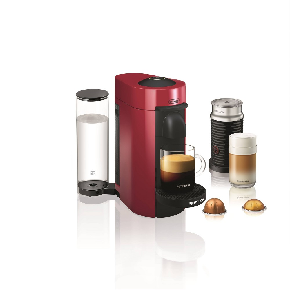 Image of Nespresso Vertuo Plus Coffee and Espresso Machine by De'Longhi with Aeroccino, Red