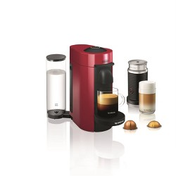 Nespresso Vertuo Plus  Coffee and Espresso Machine by De'Longhi with Aeroccino, Red