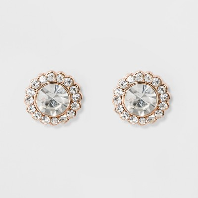 Pave Flower Stud Earrings - A New Day™ Rose Gold