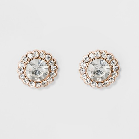 Pave Flower Stud Earrings - A New Day™ Rose Gold - image 1 of 2