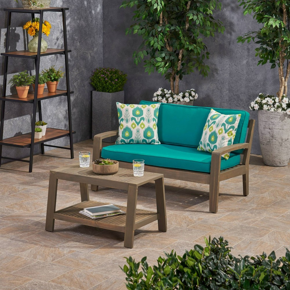 Image of 2pc Grenada Acacia Wood Patio Chat Set with Sunbrella Cushions Gray/Teal - Christopher Knight Home, Gray/Blue