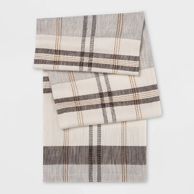 "14""x108"" Plaid Table Runner Gray - Threshold™"