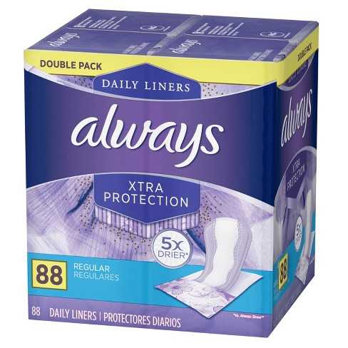Always Dailies Xtra Protection Regular Wrapped Liners - 88ct - image 1 of 3